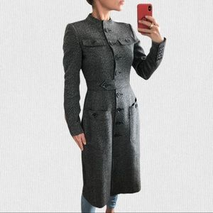 Burberry tweed wool fitted tailored coat trench 2